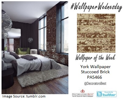 decoratorsbest wallpaper wednesday of the week york wallcoverings faux brick exposed bedroom decor interior design trends