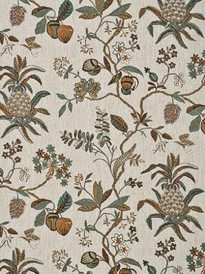 GP&J Baker Fabric - Exotic Pineapple Linen - Coral/Jade BF10347-2