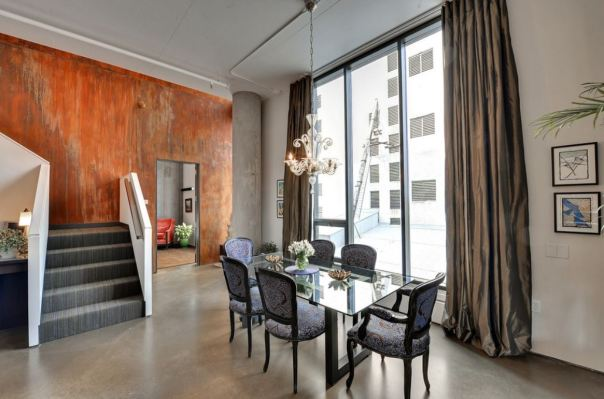 metal wall dining room via houzz