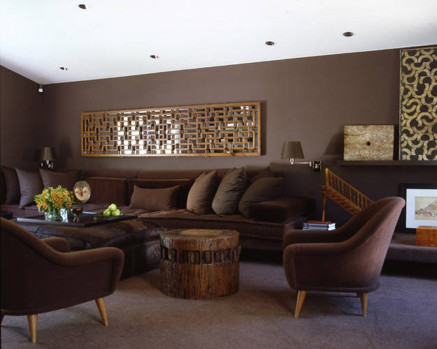 monochromatic layered brown living room designed by vicente wolf - Brown Living Room Design