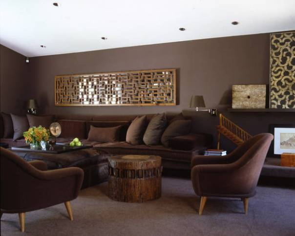 Monochromatic Layered Brown Living Room Designed by Vicente Wolf