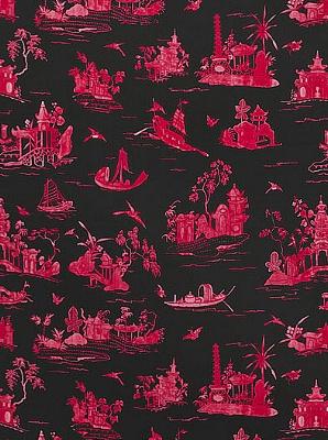 Schumacher Fabric - Coromandel - Rouge / Noir 175480