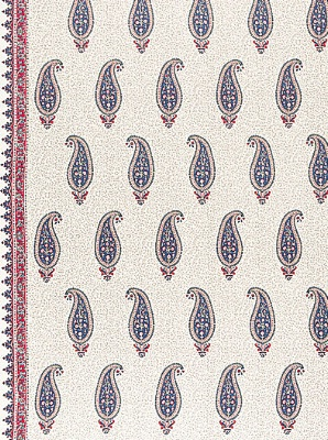 Schumacher Fabric - L'Indienne - Rouge / Prussian Blue 175511