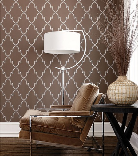 Brown Trellis Wallpaper - Interior Decor