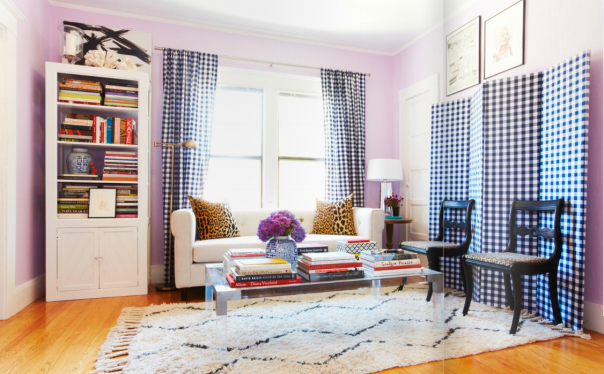 Blue Gingham Plaid at Katie Armour's Home - Matchbook Magazine co-founder