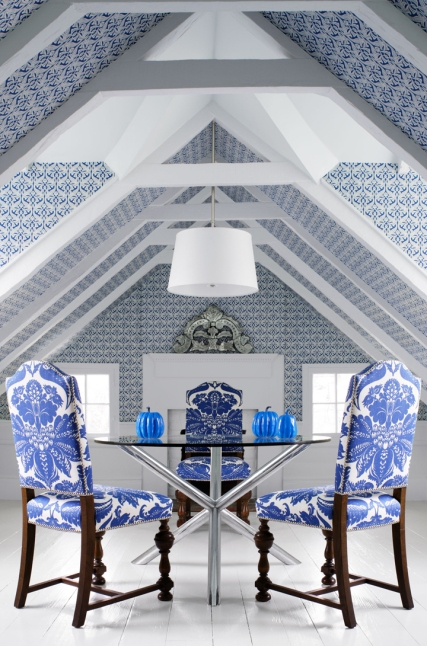 How to Decorate a Room with Angled Ceilings - Stroheim Wallpaper and Fabric