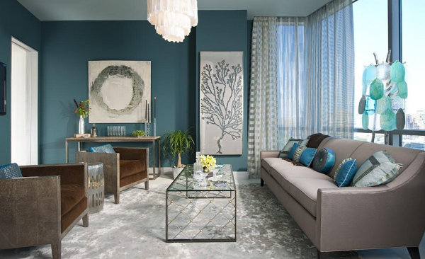 Brown and Blue Interior Decor