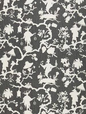 Schumacher Fabric - Shantung Silhouette Print - Smoke 174581