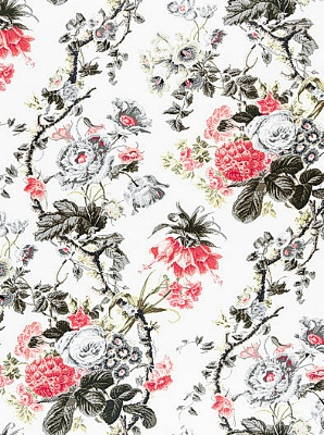 Schumacher Fabric - Elizabeth - Rouge / Grey 175500