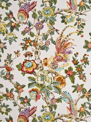 GP&J Baker Fabric - Pertelote - Aqua/Rose/Multi BP10461-4