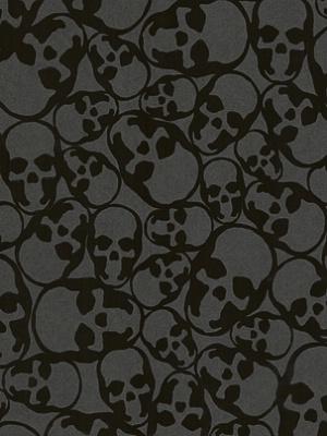 Winfield Thybony Wallpaper - Skulls - Midnight WAM7252