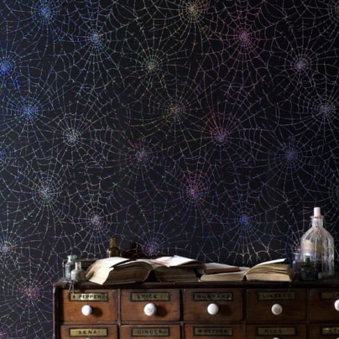 cob spider web wallpaper - cool halloween inspired decor graham & brown
