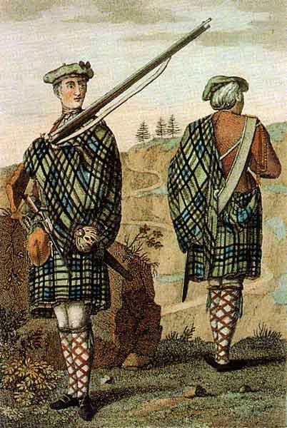 Highland Regiment Soldiers wearing Kilts & Plaids c. 1744