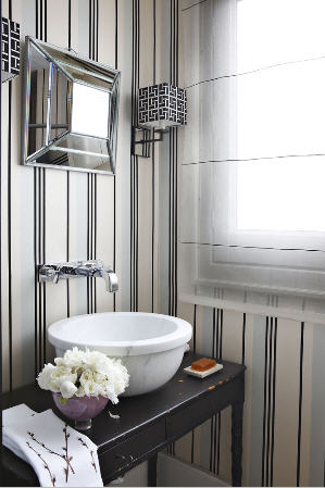 isabel lopez powder room decor interior wallpaper trends menswear inspired monochrome black & white
