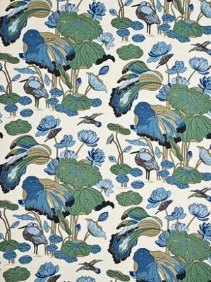 GP&J Baker Fabric - Nympheus - Linen/Aqua/Teal R1206-8