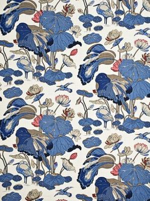GP&J Baker Fabric - Nympheus - Linen Indigo/Marine/Linen