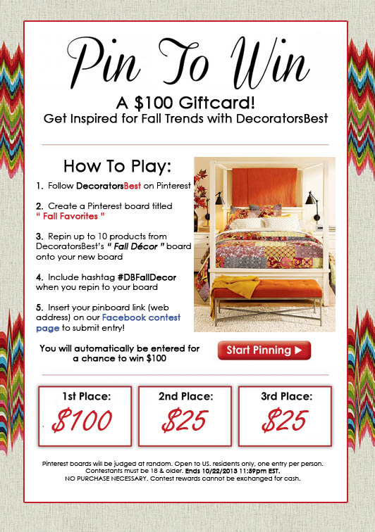 Pin to Win a $100 Gift Card - DecoratorsBest