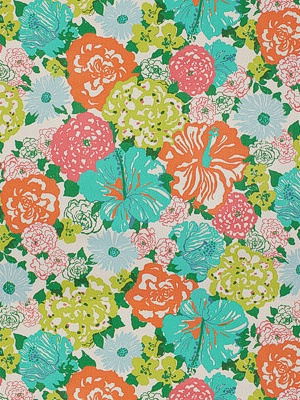 Lee Jofa Fabric - Heritage Floral - Aqua/Orange 2011106-512