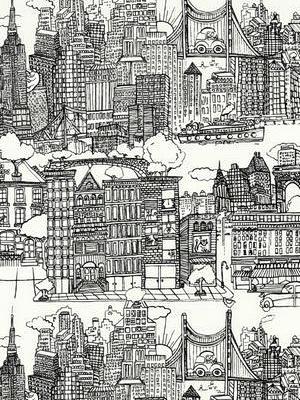 Schumacher Fabric - New York New York - Black White 2643410