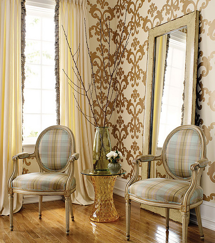 Gold Interior Decor Metallics Wallpaper Damask
