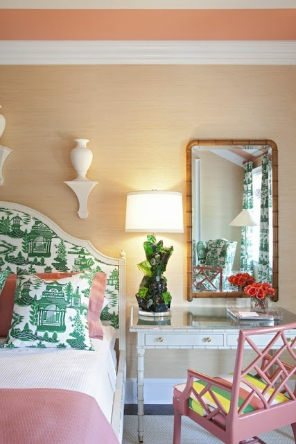 bright green and pink preppy decor