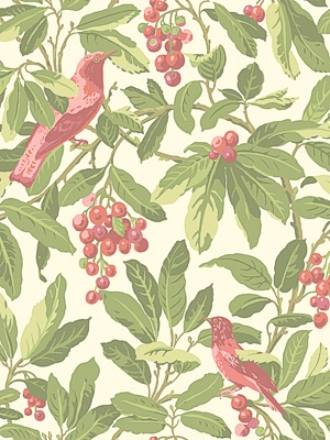 Cole & Son Wallpaper - Royal Garden - Olive/Pink CS 98/1002