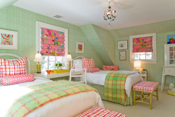 girls room interior decor - preppy bright green and pink