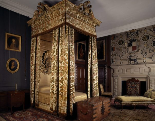 Four Poster Bed in Cut Velvet Bedroom at Hardwick Hall, Derbyshire