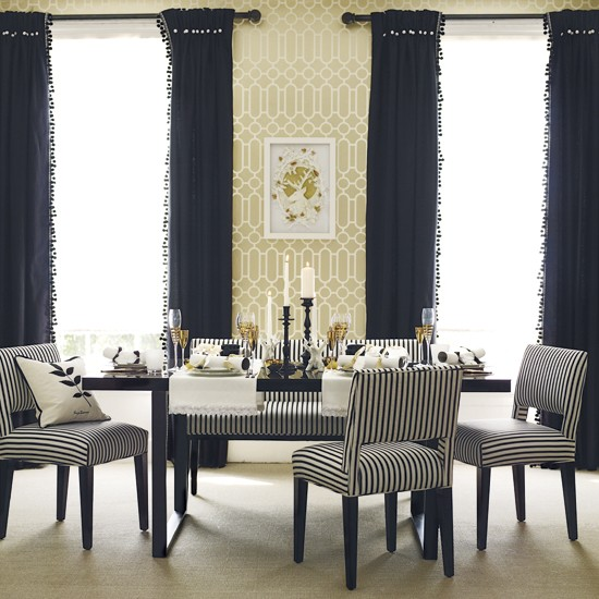 dining room decor black gold white schumacher imperial trellis