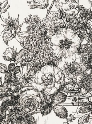 Clarke & Clarke Wallpaper - Floribunda - Black/White W0040/02