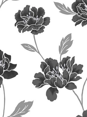 Graham & Brown Wallpaper - Peony - Black & White GB 20-194