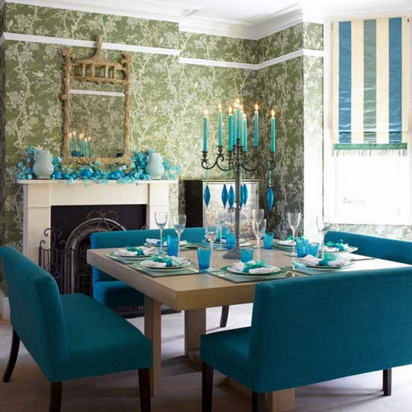 Modern-Dining-Room-with-Green-Wallpaper-and-Bench-Seats