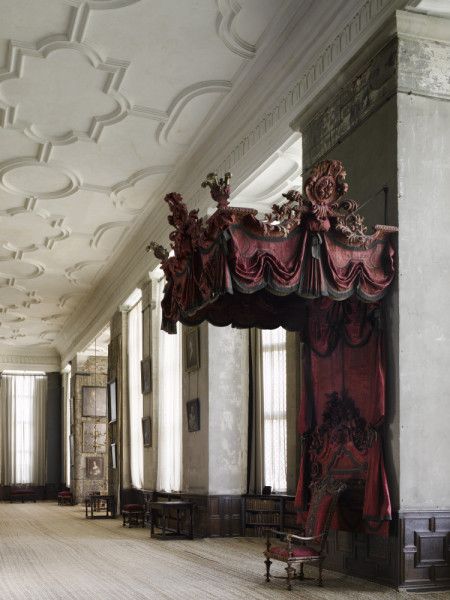 The Long Gallery at Hardwick Hall, Derbyshire, with the canopy supplied by Francis Lapierre in 1697