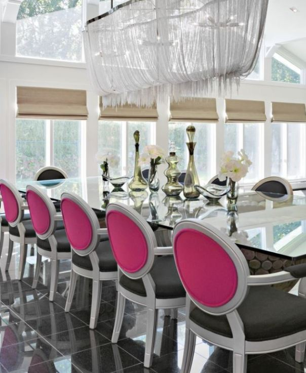 Black White Pink Dining Room Decor