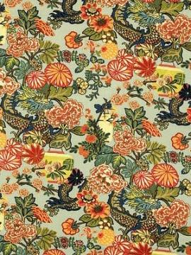 Schumacher Fabric - Chiang Mai Dragon - Aquamarine 173270