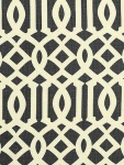 Schumacher Fabric - Imperial Trellis - Parchment Midnight 2643760