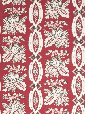 stroheim wallpaper red floral stripe 2670E CHRISTOPHE - S0333 Scarlet