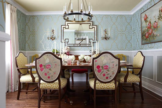 how to mix and match patterns in a dining room