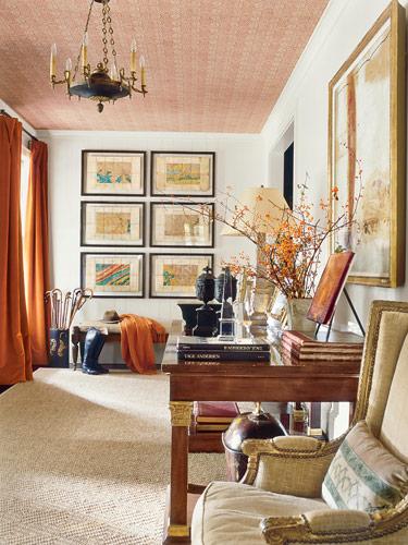 Wallpapered Ceiling Comfy & Cozy Interior Decor