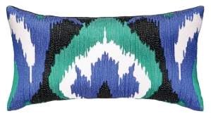 Nanette Lepore Ikat Embroidered Pillow Cobalt/Emerald Down Fill