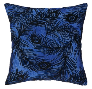 Nanette Lepore Peacock Cobalt Embroidered Pillow Down Fill