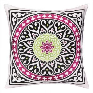 Nanette Lepore Medallion Embroidered Pillow White Down Fill 24NL24AC20SQ