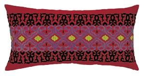Nanette Lepore Beaded Border Embroidered Pillow Red Down Fill 24NL28CC26OB