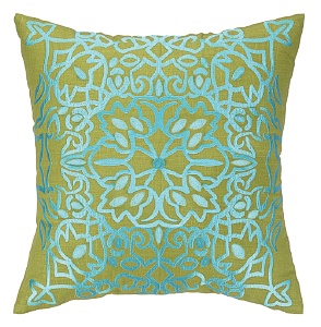 Nanette Lepore Lace Embroidered Pillow Aqua Down Fill 24NL31DC20SQ