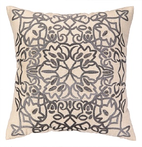 Nanette Lepore Lace Embroidered Pillow Pewter Down Fill 24NL31GC20SQ