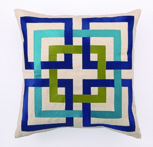 Shanghai Links Embroidered Pillow Blue 24TT47CC20SQ