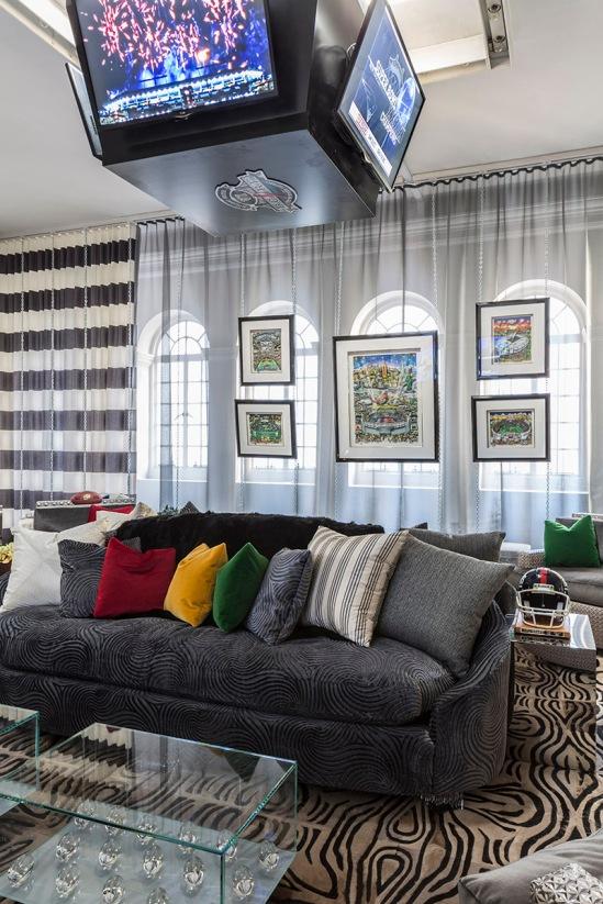 Ally Coulter Media Room Interior Decor Holiday House Super Bowl Masculine Feminine