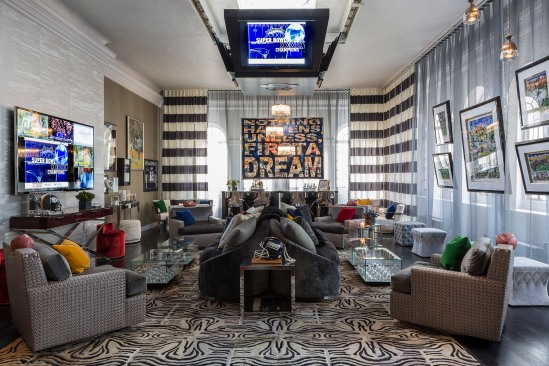 Ally Coulter Interior Design - Media Room Holiday House Masculine Feminine Superbowl