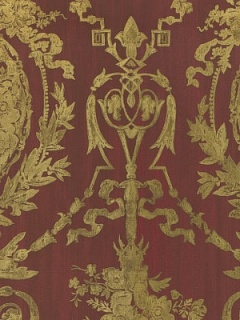 Ralph Lauren Wallpaper - Abbeywood Damask - Balmoral Red LWP50927W
