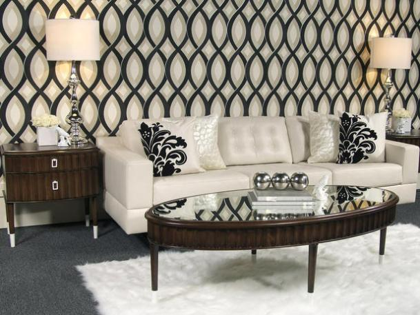 Glamourous Elegant Living Room Interior Decor White Sofa Damask Pillows